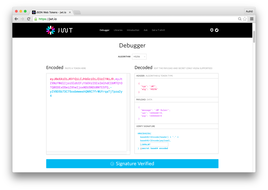 Decoding a JWT with JWT.io